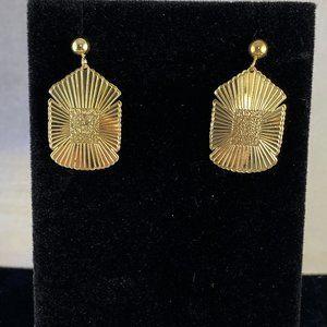 Gem Emporium Jewelry - Vintage 14 Karat Gold Southwest Shield Earrings
